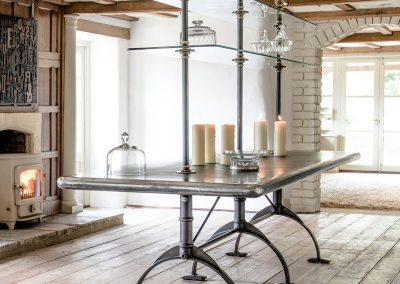 Bespoke Table, Shelving, Zinc Table and Antique Brass Rails