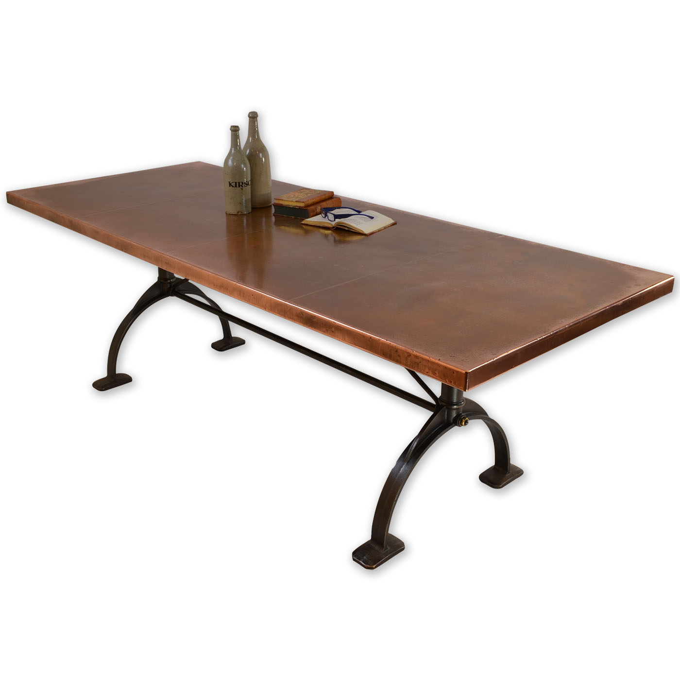 Copper dining table copper top table andrew nebbett for To the table