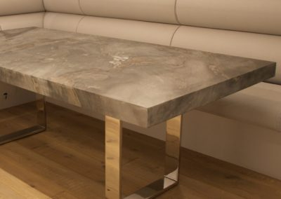 Bespoke contemporary marble and stainless steel dining table
