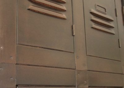 Bespoke industrial aged and patinated locker style cupboard doors