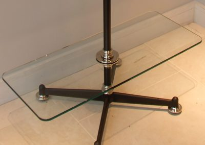 Bespoke free standing clothes rack with low level glass shelf
