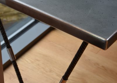 Bespoke zinc clad office desks with slim legs