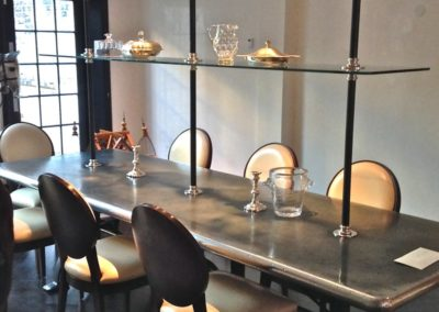 bespoke-zinc-topped-dining-table-with-tiered-shelving