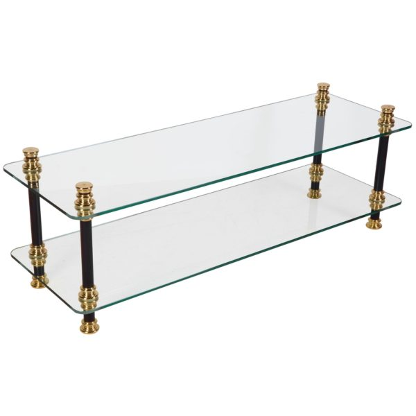 Andrew Nebbett Designs Brass Coffee Table with Glass Shelves