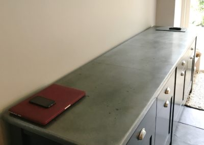 Andrew Nebbett Designs antique patinated zinc worktop (photo credit: Treyone)