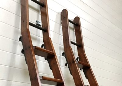 Andrew Nebbett Designs antique style wooden hook-on library ladders