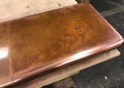 Andrew Nebbett Designs bespoke patinated antique copper bar top