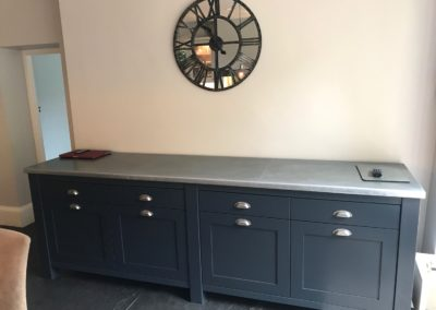 Andrew Nebbett Designs handmade antique zinc worktop (photo credit: Treyone)