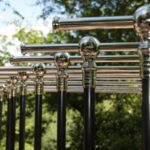 Andrew Nebbett Designs shiny silver chrome nickel plated clothes rails