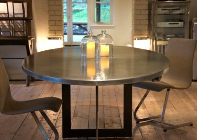 Andrew Nebbett Designs Oval Zinc top Table with Patinated Steel Legs