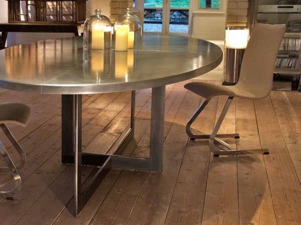 Hand Made Oval Zinc Top Dining Table