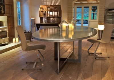 Andrew Nebbett Designs Bespoke contemporary zinc oval dining table steel legs