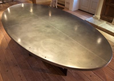 Bespoke made zinc oval dining table
