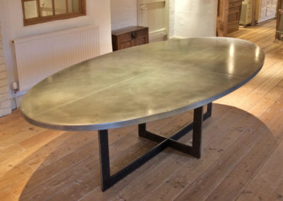 Bespoke made zinc topped oval dining table