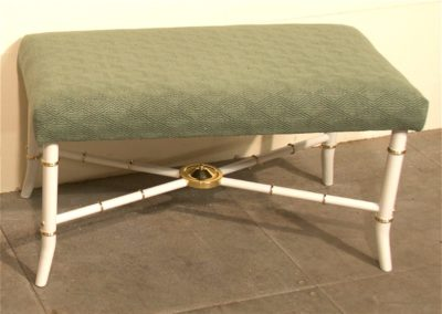 AND custom made brass and painted steel upholstered stool