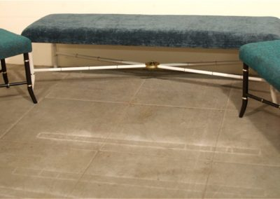 AND custom made brass and painted steel upholstered stools