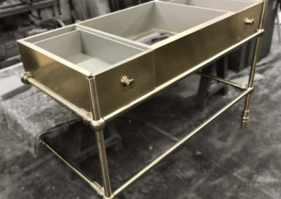 AND custom made brushed nickel pedestal to accomodate marble top