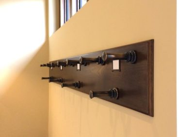 Andrew Nebbett Designs bespoke made oak and patinated brass gun rack