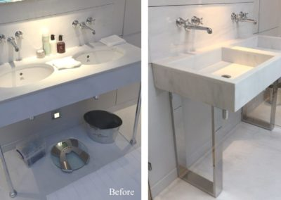 Andrew Nebbett Designs custom made marble washstand with contemporary polished nickel legs