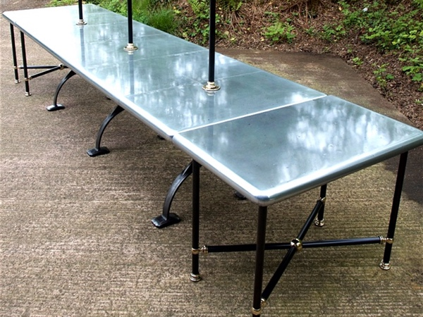 Multi-Use Custom Made Extending Zinc Top Dining Table With Matching Zinc Console Tables