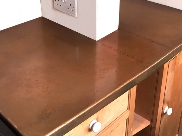 Custom Made Patinated Copper Worktop