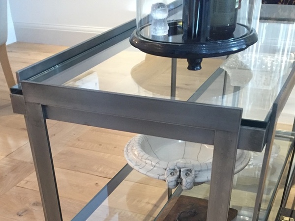 Custom Made Contemporary Steel & Glass Coffee Table & Console Unit