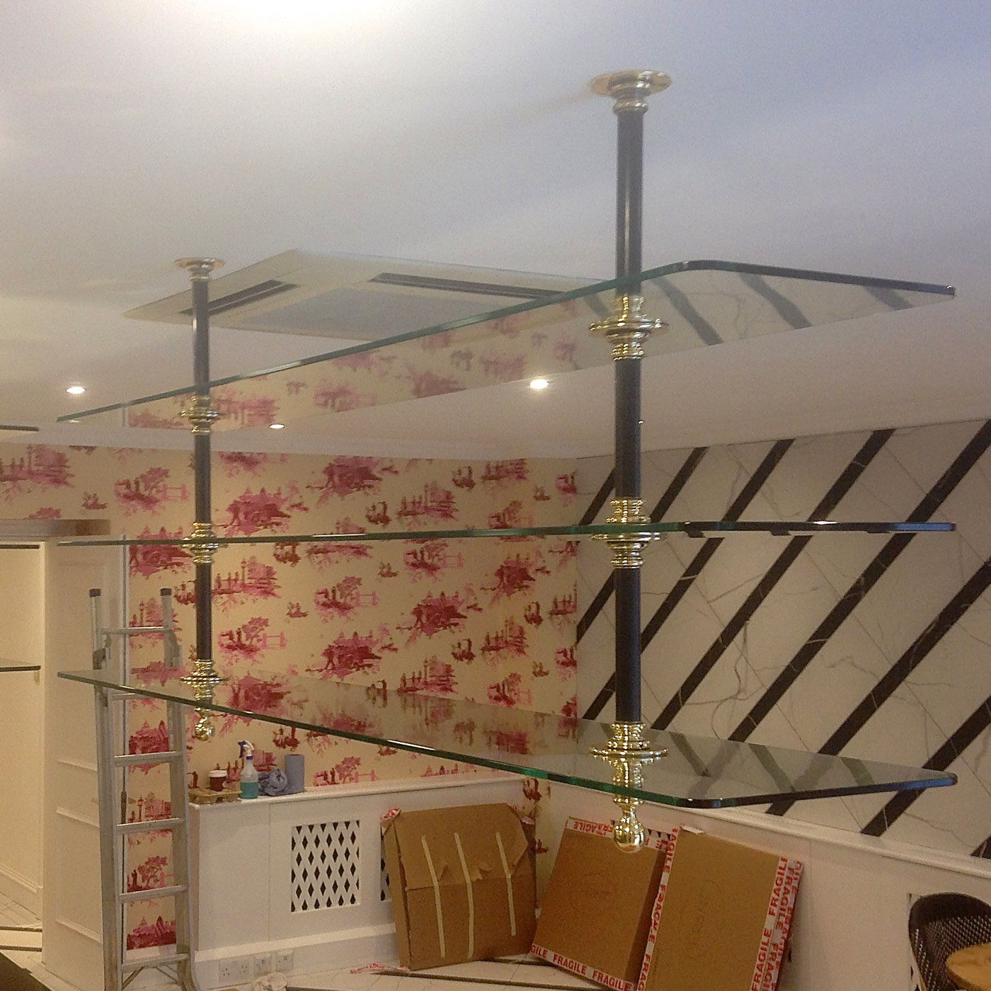 Nickel Plated Ceiling Rack With Glass Shelves