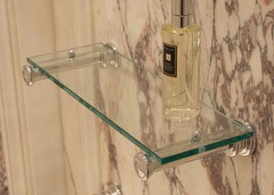 Andrew Nebbett Designs glass and chrome colour small wall shelf