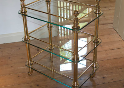 Andrew Nebbett Designs shiny brass and glass trolley with three shelves