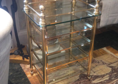 Andrew Nebbett Designs solid brass and glass bathroom trolley drawer unit