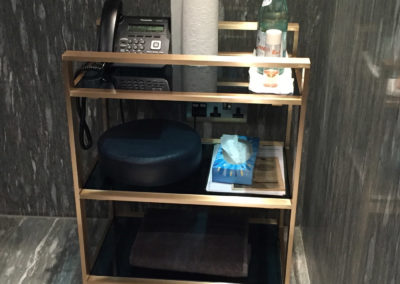 Andrew Nebbett Designs solid brushed brass & glass contemporary bathroom trolley