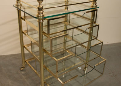 Andrew Nebbett Designs solid polished brass and glass bathroom trolley drawer unit