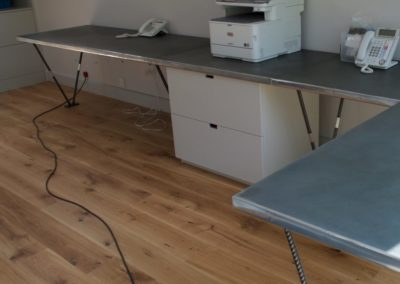 Bespoke industrial zinc clad office desks with steel legs