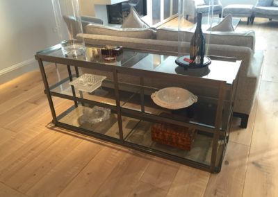 Andrew Nebbett Designs custom made steel and glass console shelving unit