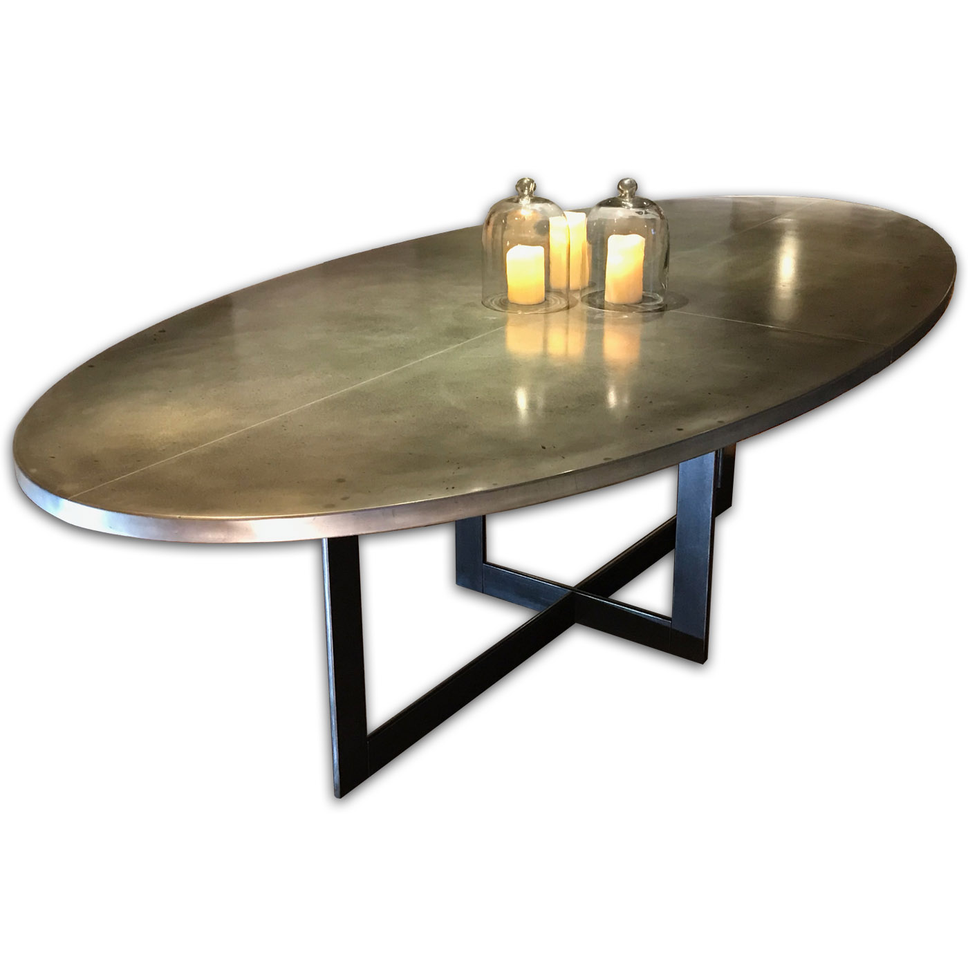 Contemporary Oval Zinc Dining Table