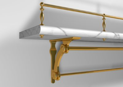 AND 3D visual of custom designed kitchen fiddle rail or gallery rail