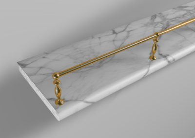 AND 3D visual of custom made gallery rail for shelf