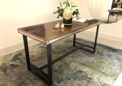 Andrew Nebbett Designs bespoke copper top table featured at Christopher Peacock London