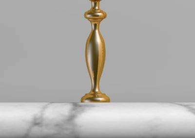 Andrew Nebbett Designs custom designed solid brass gallery or fiddle rail 3D visual