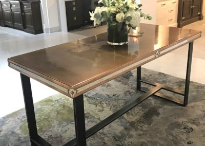 Andrew Nebbett Designs custom made antique copper top table in collaboration with Christopher Peacock London