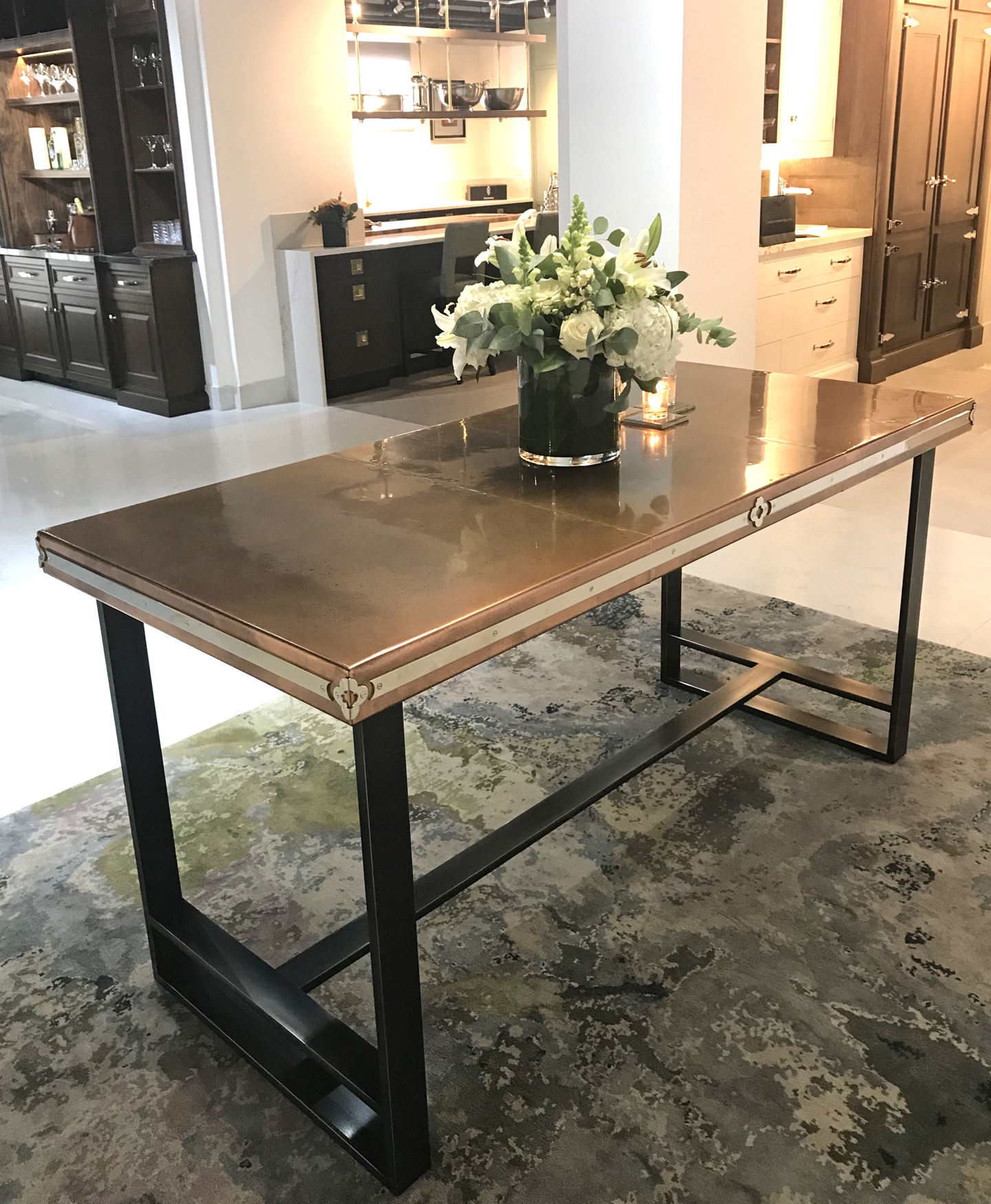 The dining table design brief was to produce a sleek and sharp u0027catwalku0027 style table; which would showcase many of our beautiful hand-crafted skills and ... & Antique Patinated Copper Dining Table - Andrew Nebbett Designs