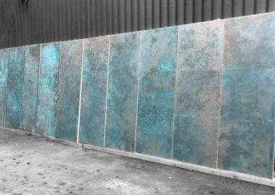 Andrew Nebbett Designs bespoke copper clad doors with verdigris patinated finish