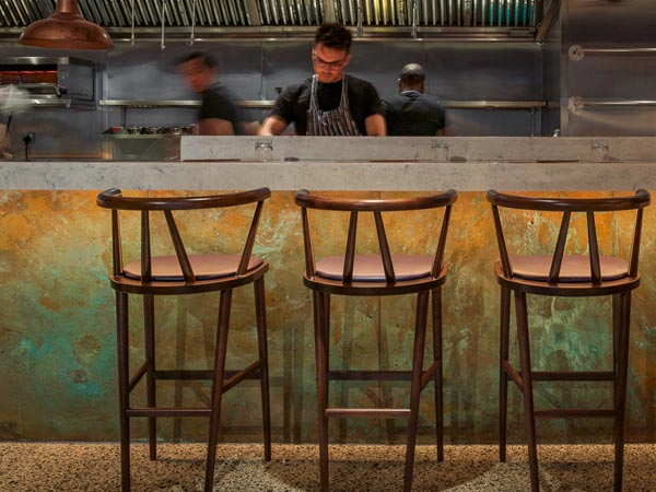 Custom Made & Custom Patinated Copper Panels For Bar Front