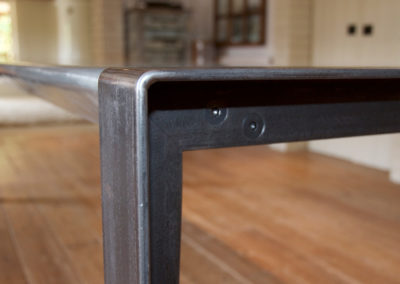 Andrew Nebbett Designs Bespoke Industrial Design Dining Table with Zinc Patina Table Top
