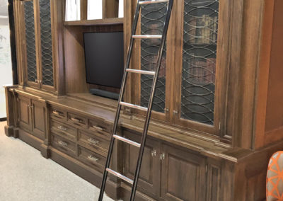 Andrew Nebbett Designs Black American Walnut Bookcase with Bespoke Library Ladder for Christopher Peacock London