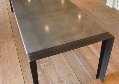 Andrew Nebbett Designs Contemporary Designer Zinc Top Dining Room Table