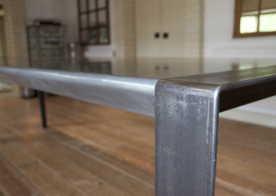 Andrew Nebbett Designs Custom-Made Industrial Design Dining Table with Zinc Table Top