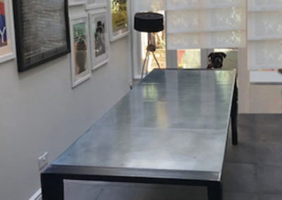 Andrew Nebbett Designs Hand-Made Zinc Dining Table within Clients Dining Room Extension