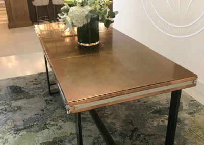 Andrew Nebbett Designs custom handmade antique copper top table featured at Christopher Peacock London