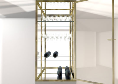 3D Visualisation Design for Bespoke Brass Glass and Mirrored Cabinet Display
